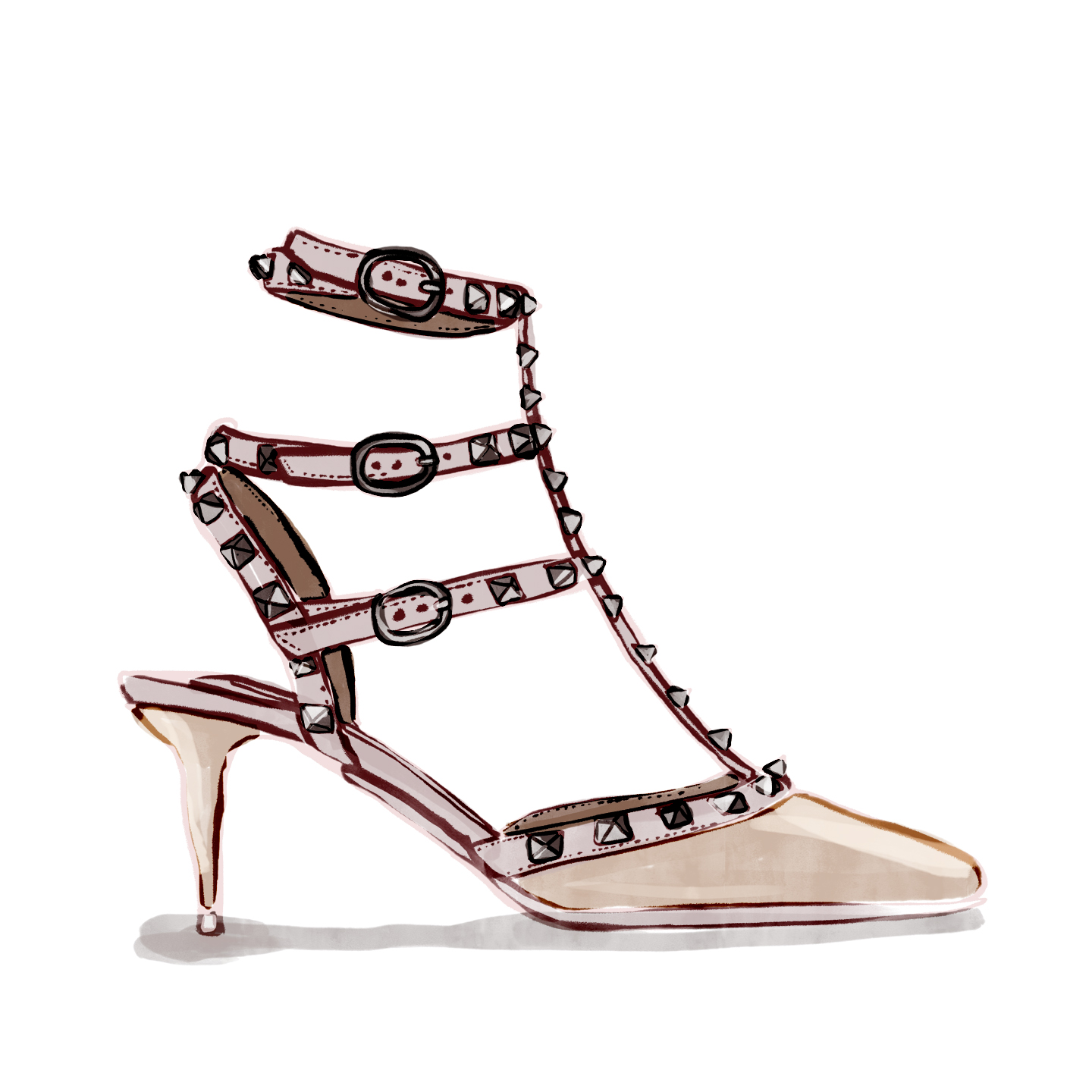 The height of a Valentino kitten heel