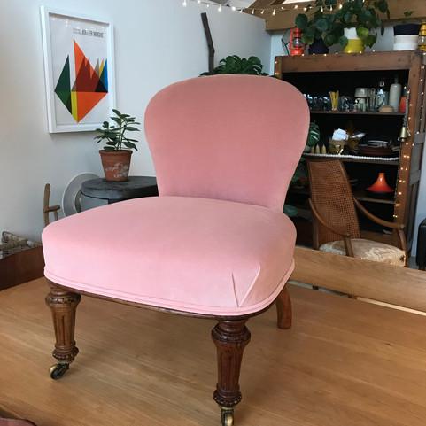 // Velvet nursing style chair