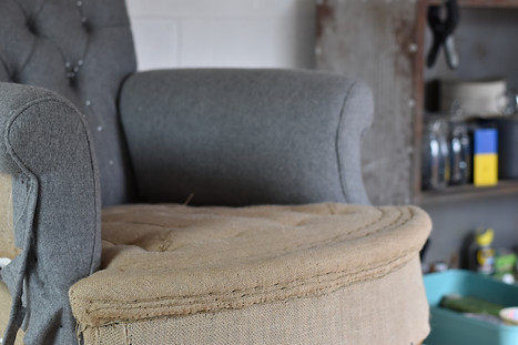 Traditionally upholstered armchair