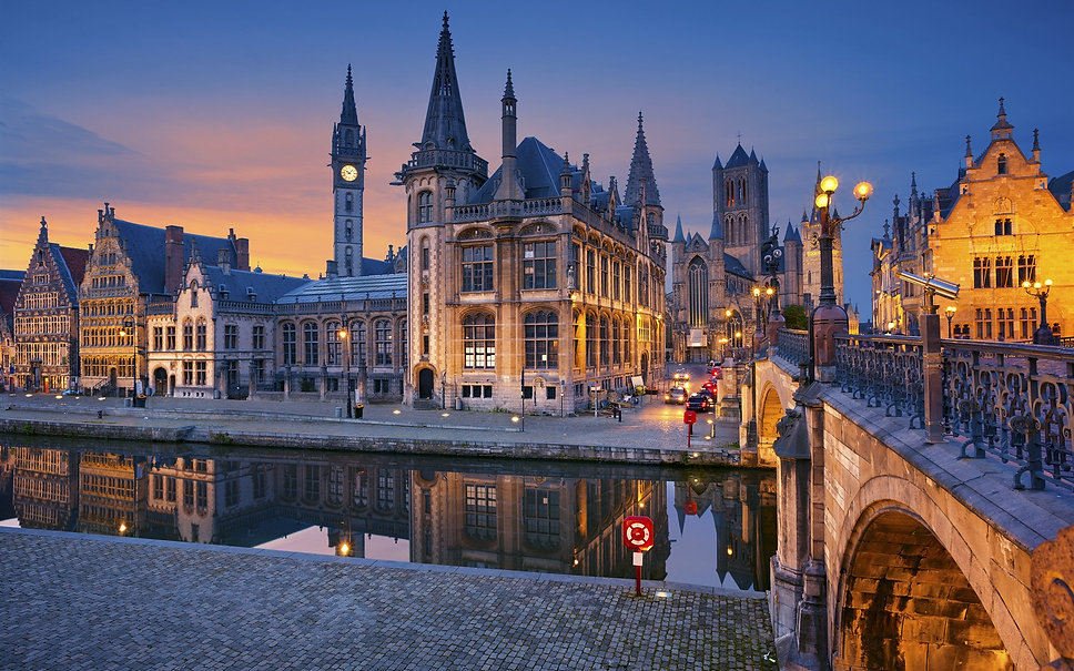 Ghent-Belgium-Flanders-city-river-lights