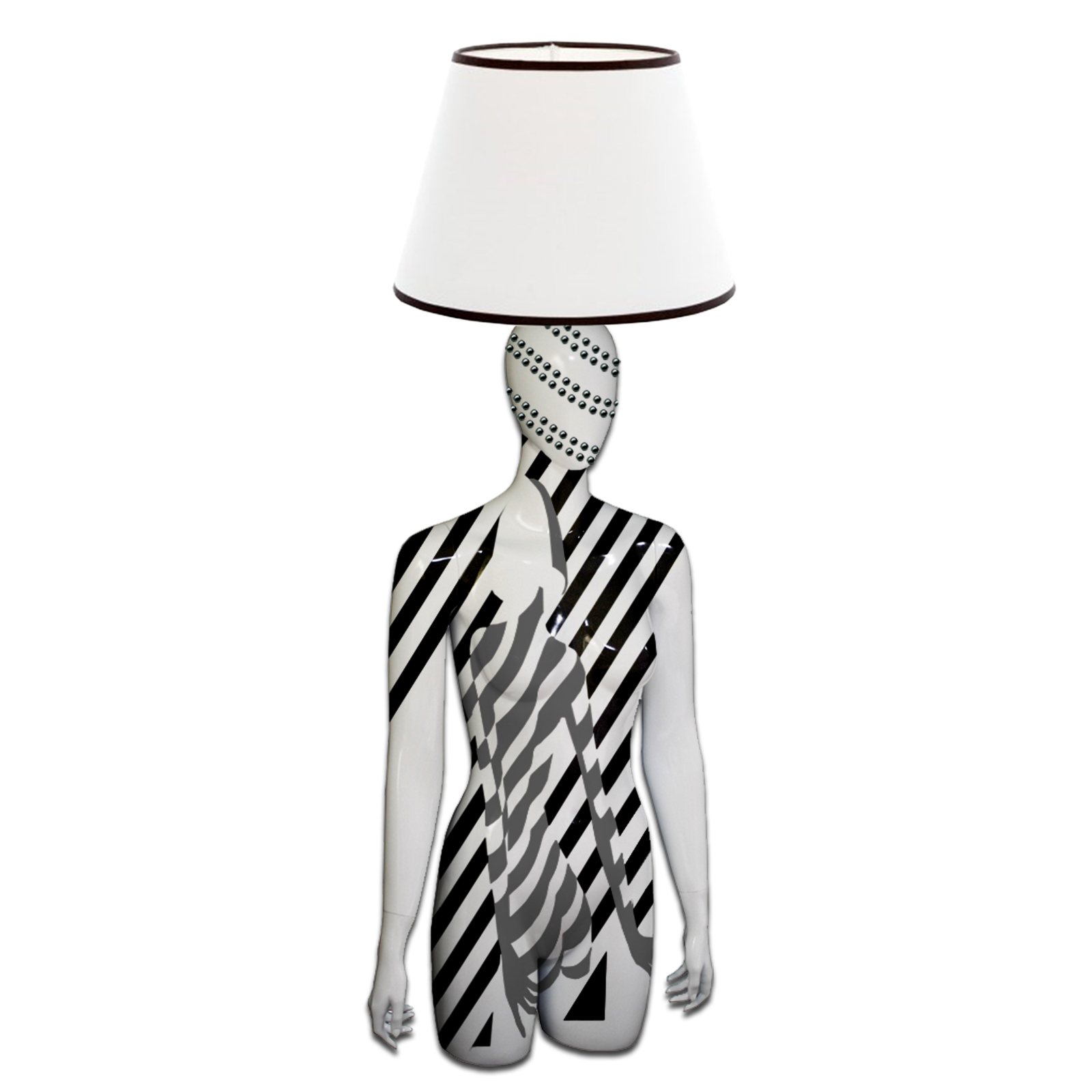Mannequin Table Lamp_Female Torso_Graphic Woman Grey