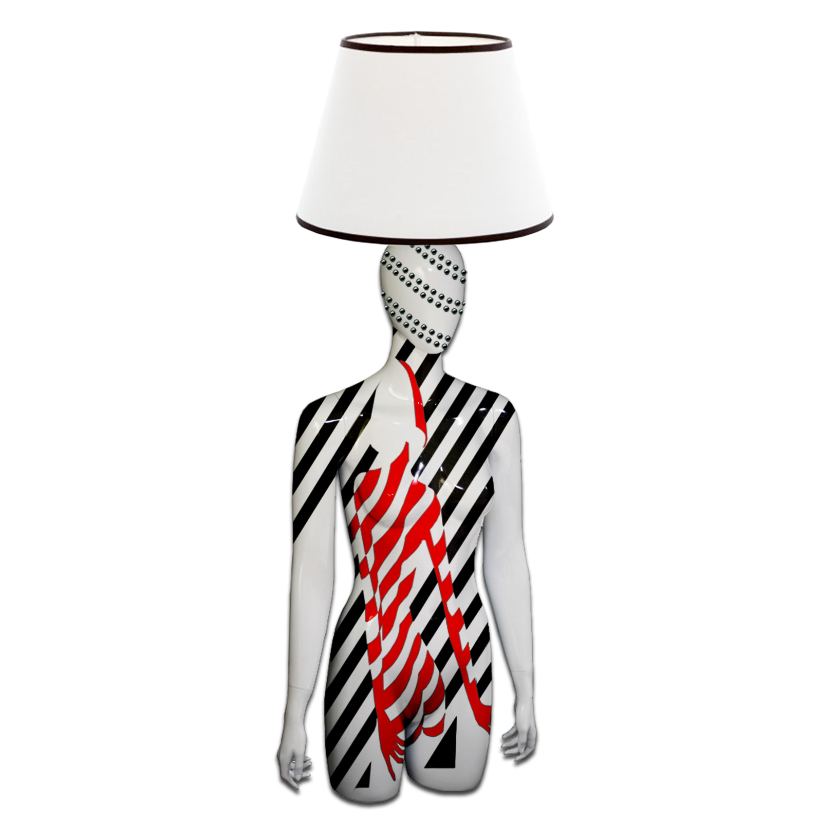 Mannequin Table Lamp_Female Torso_Graphic Woman Red