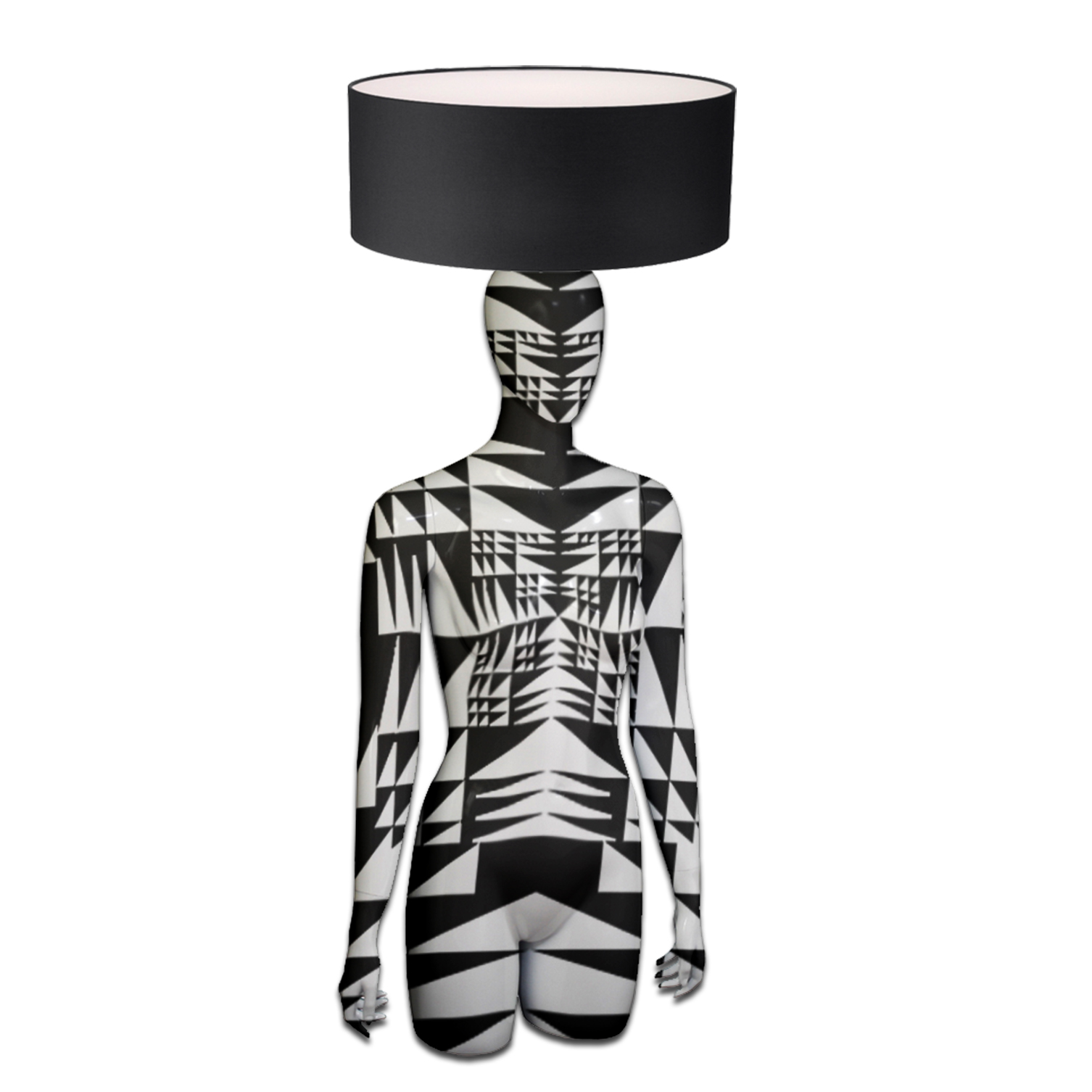 Mannequin Table Lamp_Head & Hands_Black & White Geometrical