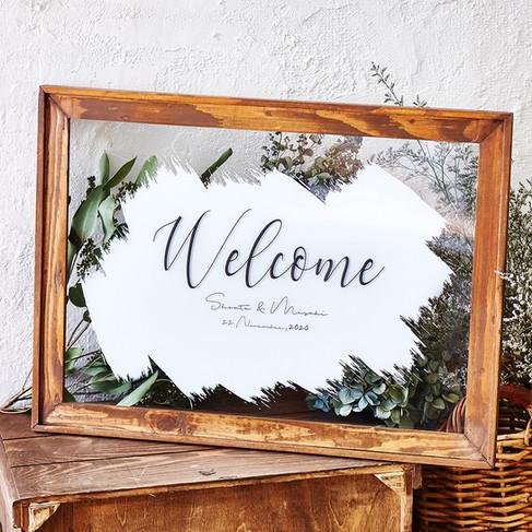 Wood Frame Welcome Board