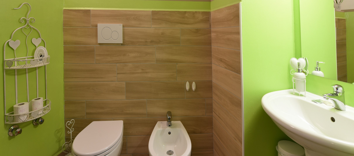 Double beige bathroom