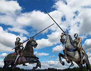 Joust between two knights on horseback.j