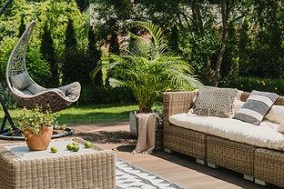 Elegant garden furniture on terrace of s