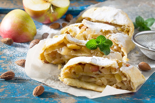 Homemade apple strudel with fresh apples