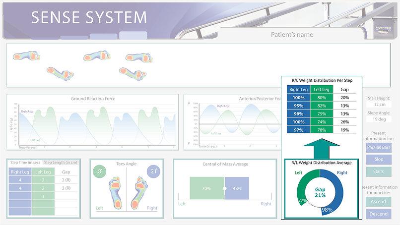 Data presentation back info weight distr