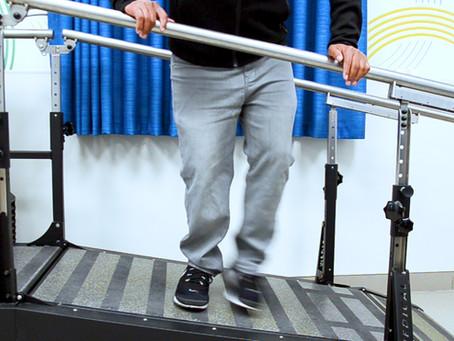 Climbing a slope sideways to exercise weak leg