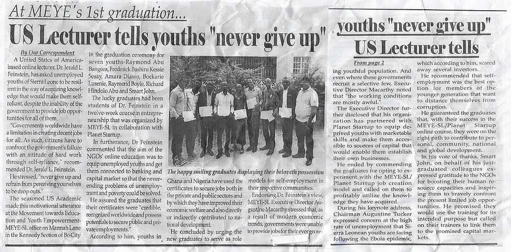 Major Newspaper Covers Planet Startup Graduation in Sierra Leone
