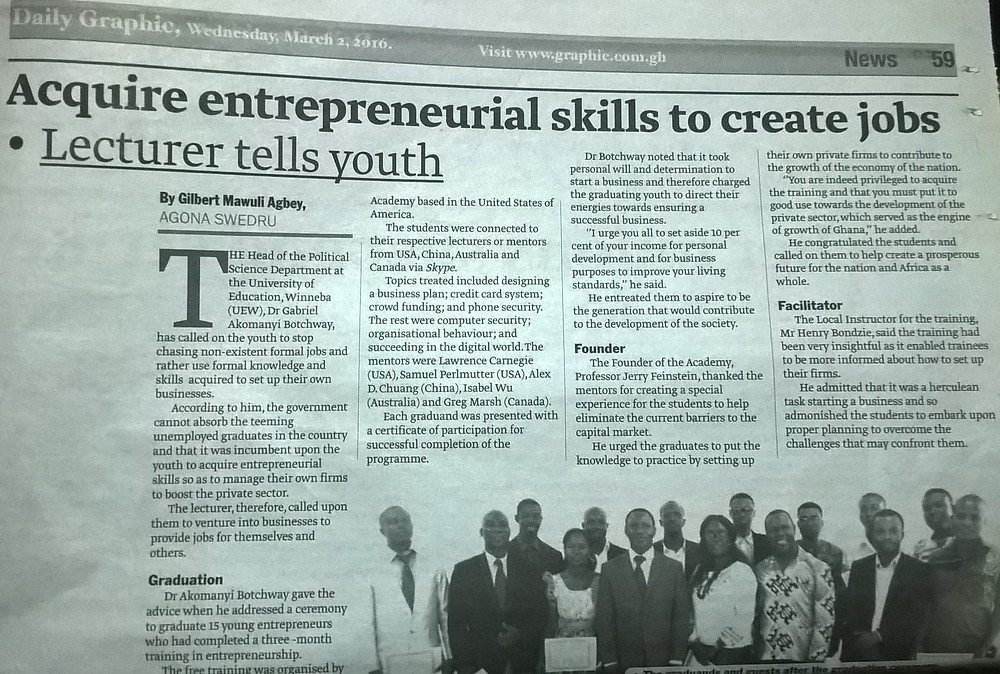 Ghana Newspaper Article and news coverage of Planet Startup