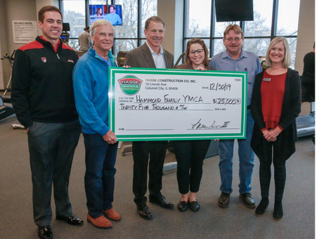 December 30, 2019: Hasse Construction makes donation to support YMCA