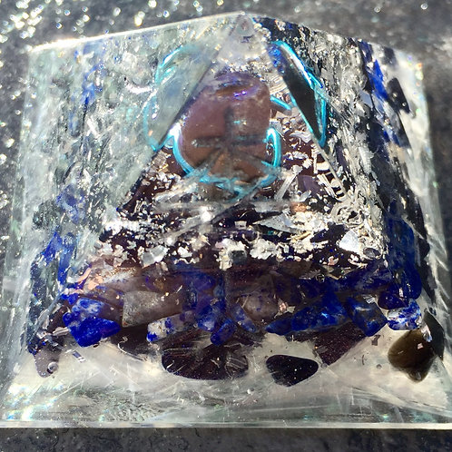 "Orgonite Lapis Lazuli Pyramid with Reiki symbols 2"" wide x 2"" tall"