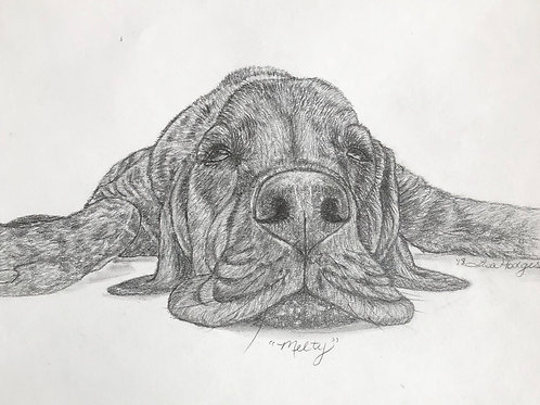 """Melty"" original 8x10 pencil framed"