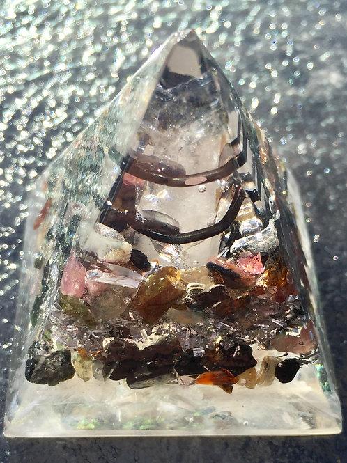 """Orgonite Tourmaline Pyramid  2"""" wide x 2.5"""" tall"""