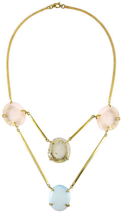 DIONNA NECKLACE - rose, clear & opaline quartz