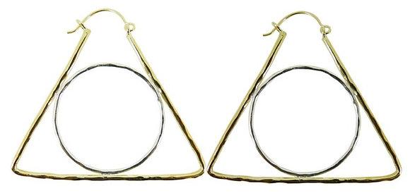 GEOMETRIC EARRING - triangle/circle