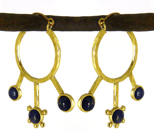 GISELA EARRING - blue goldstone & black onyx