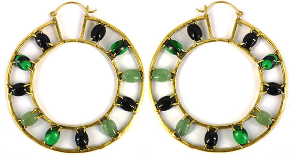 OTTO EARRING - green aventurine & black onyx
