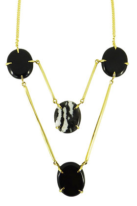 DIONNA NECKLACE - black obsidian & zebra agate