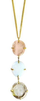 DELFINE NECKLACE - rose, opaline & clear quartz