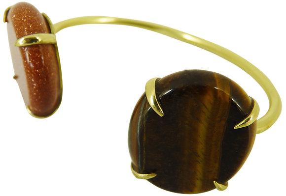 DELFIN CUFF - goldstone & tigers eye