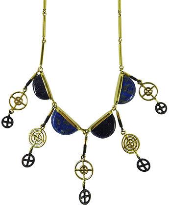 ELIA NECKLACE - blue goldstone & lapis lazuli