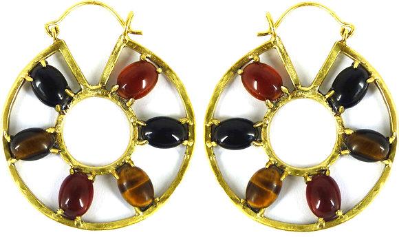 HONORA EARRING - tigers eye, carnelian & black onyx