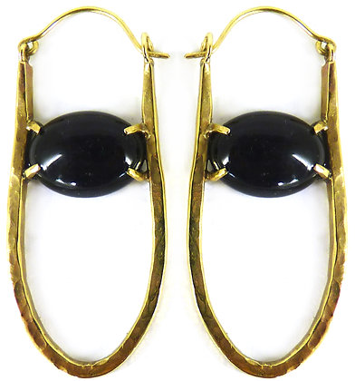 SINGLE LINK DROP EARRING - black onyx