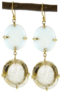 DAMARIA EARRING - opaline & clear quartz