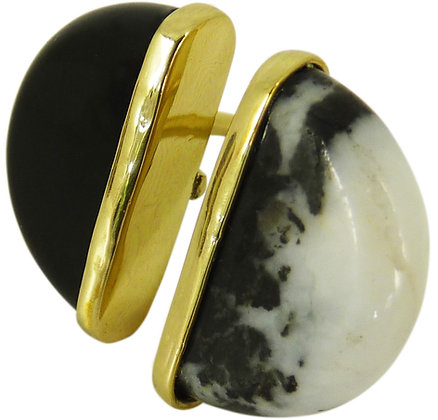 AUBRY RING - black obsidian & zebra agate