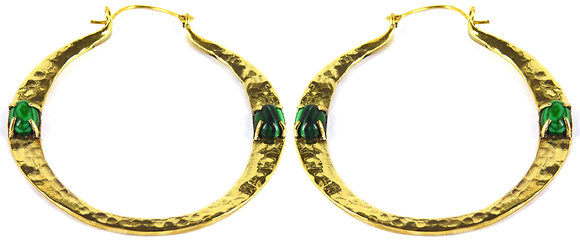 IVAR DOUBLE STONE HOOP - malachite