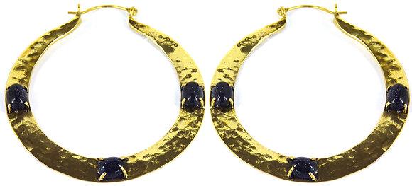 IVAR TRIPLE STONE HOOP - blue goldstone