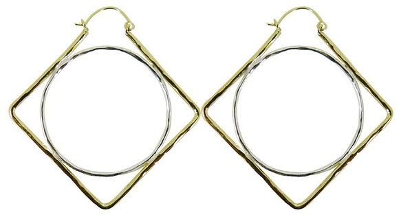 GEOMETRIC HOOP - diamond/circle