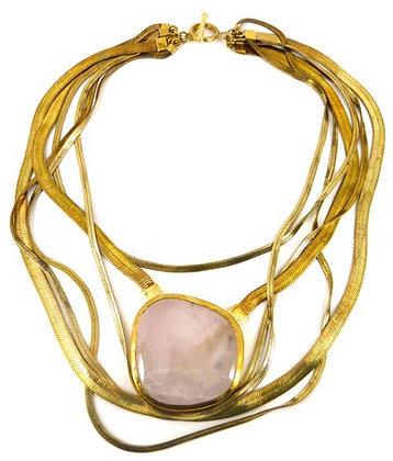 SORAYA NECKLACE - rose quartz