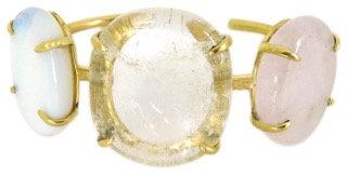 DELFINE CUFF - opaline, clear & rose quartz