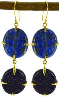 CERA EARRINGS - lapis lazuli & blue goldstone