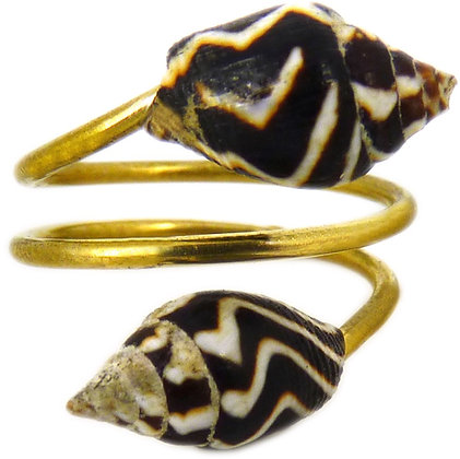 DAMSEL DOUBLE SHELL RING - horn
