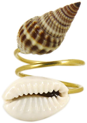 DAMSEL DOUBLE SHELL RING - cowrie/trumpet