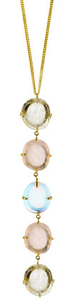 DAMARIS NECKLACE - clear, rose & opaline quartz