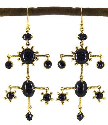 ROYAL DOUBLE DROP EARRING - blue goldstone