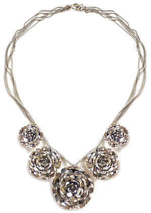 RAY 5 ROSE NECKLACE - silver