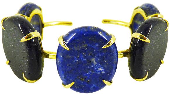 DELA CUFF - blue goldstone & lapis lazuli