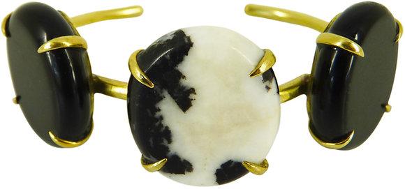 ORI CUFF - black obsidian & zebra agate