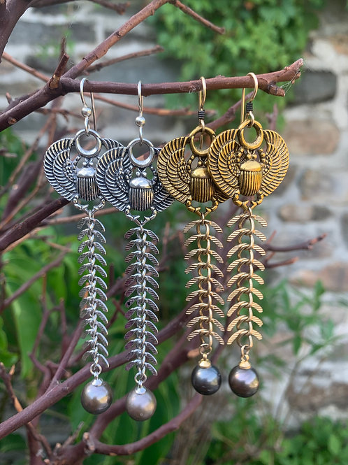 winged scarab fishbone tahitian pearl dangles