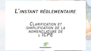 Clarification et simplification de la nomenclature de l'ICPE