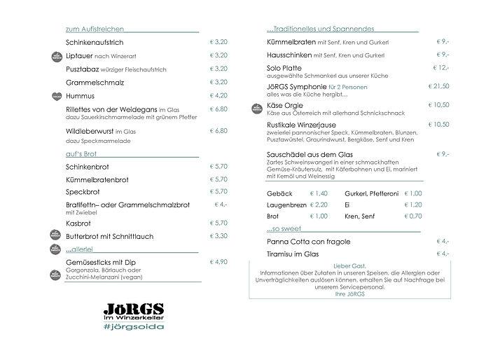 Speisekarte JöRGS im Winzerkeller