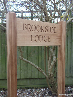 free standing oak house sign