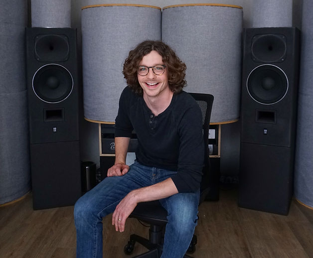 Jesse Ray Ernster with his Strauss Electroacoustic SE-MF-4 Monitors in his Los Angeles studio, MIXLAND.